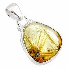 13.15cts natural golden half star rutile 925 sterling silver pendant p75993