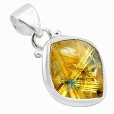 13.15cts natural golden half star rutile 925 sterling silver pendant p75995