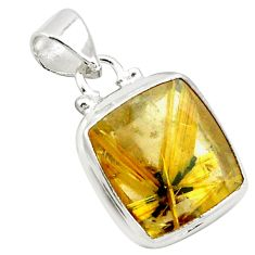 11.21cts natural golden half star rutile 925 sterling silver pendant p75997