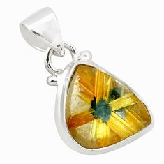 8.80cts natural golden half star rutile 925 sterling silver pendant p75998