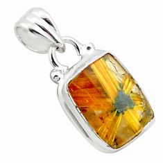 6.61cts natural golden half star rutile 925 sterling silver pendant p75999