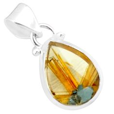 8.87cts natural golden half star rutile 925 sterling silver pendant p76023