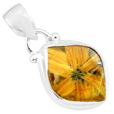 9.18cts natural golden half star rutile 925 sterling silver pendant p76026
