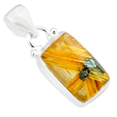 6.72cts natural golden half star rutile 925 sterling silver pendant p76027