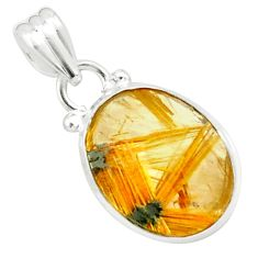 9.37cts natural golden half star rutile 925 sterling silver pendant p76029