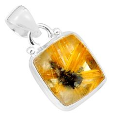 10.32cts natural golden half star rutile 925 sterling silver pendant p76030