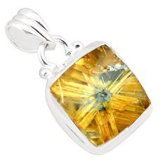 8.22cts natural golden half star rutile octagan 925 silver pendant p76025