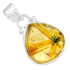8.24cts natural golden half star rutile pear 925 sterling silver pendant p76031
