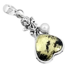 Natural golden pyrite in magnetite 925 silver cupid angel wings pendant p55223