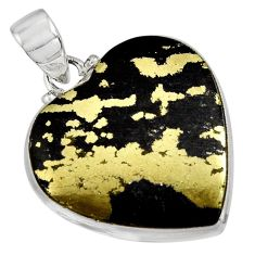24.89cts natural golden pyrite in magnetite 925 silver heart pendant d32523