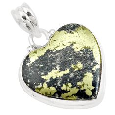 18.68cts natural golden pyrite in magnetite 925 silver heart pendant p40469