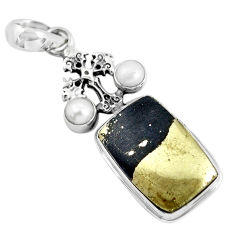 18.51cts natural golden pyrite in magnetite 925 silver holy cross pendant p55221