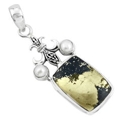 19.43cts natural golden pyrite in magnetite 925 silver pendant p55222