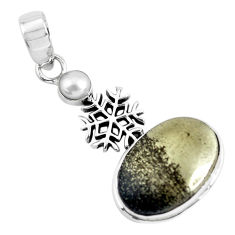 16.92cts natural golden pyrite in magnetite 925 silver snowflake pendant p55227
