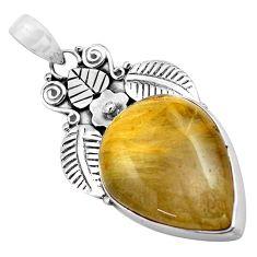22.75cts natural golden rutile 925 sterling silver deltoid leaf pendant p84698