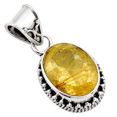10.37cts natural golden rutile 925 sterling silver pendant jewelry p88643