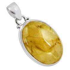27.64cts natural golden rutile 925 sterling silver pendant jewelry p89100