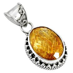 10.37cts natural golden rutile 925 sterling silver pendant jewelry p90332