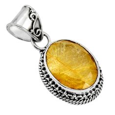 10.37cts natural golden rutile 925 sterling silver pendant jewelry p90335