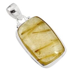 26.16cts natural golden rutile 925 sterling silver pendant jewelry p92149