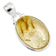 18.15cts natural golden rutile 925 sterling silver pendant jewelry p92151
