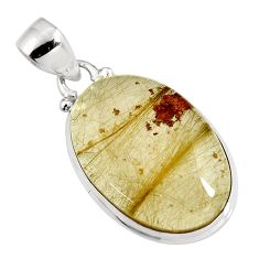 18.68cts natural golden rutile 925 sterling silver pendant jewelry p92153