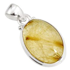13.85cts natural golden rutile 925 sterling silver pendant jewelry p92158