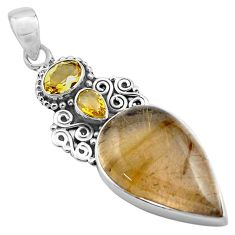 23.11cts natural golden rutile yellow citrine 925 sterling silver pendant p84737