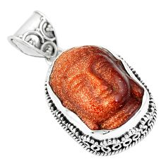 17.43cts natural goldstone 925 sterling silver buddha carving pendant p77331