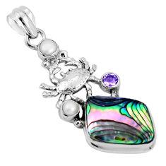 12.97cts natural green abalone paua seashell 925 silver crab pendant p31253