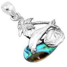 6.21cts natural green abalone paua seashell 925 silver dolphin pendant p41894