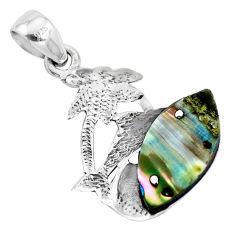 4.63cts natural green abalone paua seashell 925 silver dolphin pendant p41895