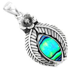 7.62cts natural green abalone paua seashell 925 silver flower pendant p42023