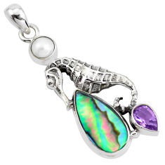 8.83cts natural green abalone paua seashell 925 silver seahorse pendant p42173