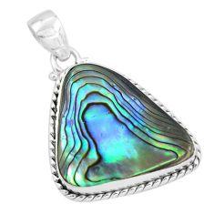 17.42cts natural green abalone paua seashell 925 sterling silver pendant p58031
