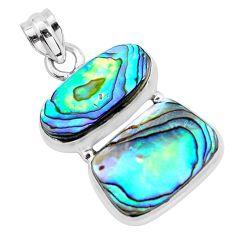 15.47cts natural green abalone paua seashell 925 sterling silver pendant p58931