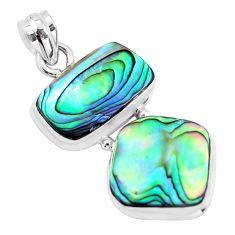16.54cts natural green abalone paua seashell 925 sterling silver pendant p59118