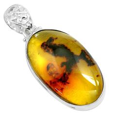 17.55cts natural green amber from colombia 925 sterling silver pendant p46874