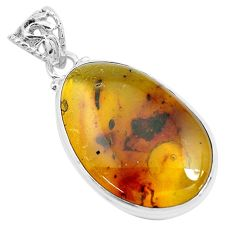 13.66cts natural green amber from colombia 925 sterling silver pendant p46886
