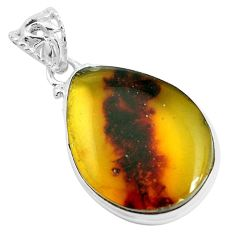 14.14cts natural green amber from colombia 925 sterling silver pendant p46907
