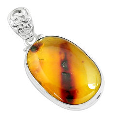 13.66cts natural green amber from colombia 925 sterling silver pendant p46909