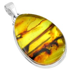 26.08cts natural green amber from colombia 925 sterling silver pendant p66062