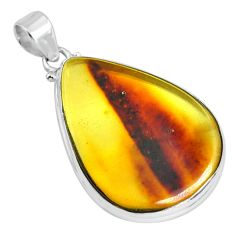 15.85cts natural green amber from colombia 925 sterling silver pendant p66069