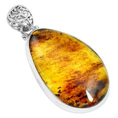 21.72cts natural green amber from colombia 925 sterling silver pendant p66073