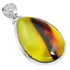 21.67cts natural green amber from colombia 925 sterling silver pendant p66076