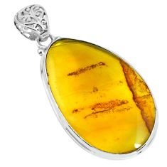 16.87cts natural green amber from colombia 925 sterling silver pendant p66093