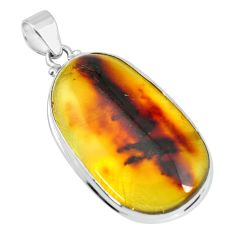 17.95cts natural green amber from colombia 925 sterling silver pendant p66100
