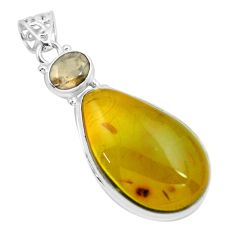 20.33cts natural green amber from colombia smoky topaz 925 silver pendant p66103