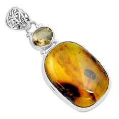 20.86cts natural green amber from colombia smoky topaz 925 silver pendant p66117