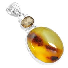 19.82cts natural green amber from colombia smoky topaz 925 silver pendant p71883